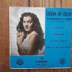 Discos de vinilo: LILIAN DE CELIS - EL RELICARIO + EL POLICHINELA + LA CHULA TANGUISTA + AGUA QUE NO HAS DE BEBER. Lote 285446268