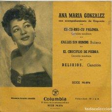 Dischi in vinile: ANA MARIA GONZALEZ / CALLES SIN RUMBO + 3 (EP COLUMBIA 1959). Lote 285517798