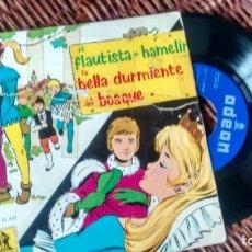 Discos de vinil: SINGLE (VINILO) CON LOS CUENTOS INFANTILES EL FLAUTISTA DE HAMELIN-LA BELLA DURMIENTE AÑOS 60. Lote 286603233