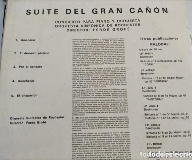 Discos de vinilo: VINILO SUITE DEL GRAN CAÑÓN. ORQUESTA FILARMÓNICA DE ROCHESTER. FERDE GROFÉ. - Foto 2 - 286684138