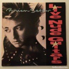 Discos de vinilo: BRIAN SETZER – LIVE NUDE GUITARS , USA 1988 EMI. Lote 286693248