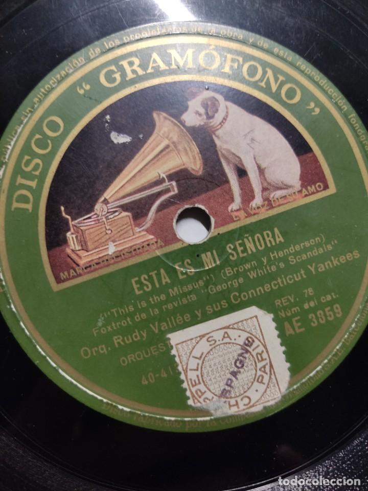 Discos de vinilo: Disco pizarra ME VUELVES LOCO y ESTA ES MI SEÑORA Orquesta Rudy Vallée & sus Connecticut Yankees - Foto 3 - 286912123