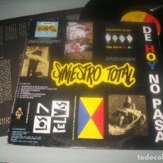 Disques de vinyle: SINIESTRO TOTAL - DE HOY NO PASA .. LP 1987 .ORIGINAL CON LETRAS .CREO QUE CON FIRMA BUEN ESTADO. Lote 286971228