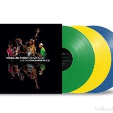 Discos de vinilo: THE ROLLING STONES - A BIGGER BANG LIVE ON COPACABANA BEACH 3LP VINILO COLOR PRECINTADO. Lote 286971618