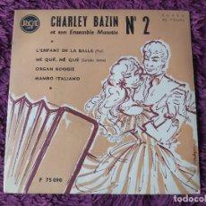 """Discos de vinilo: CHARLEY BAZIN ET SON ENSEMBLE MUSETTE Nº 2 ,VINYL, 7"""", EP FRANCE F 75090. Lote 287114008"""