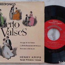 Discos de vinilo: CONCIERTO DE VALSES.EL LAGO DE LOS CISNES.BELLA DURMIENTE.SERENATA EN DO MAYOR.HENRY KRIPS.EP ESPAÑA. Lote 287119563