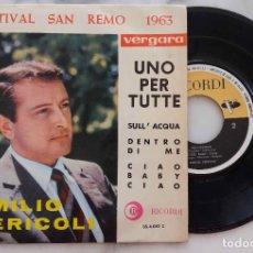 Discos de vinilo: EMILIO PERICOLI. UNO PER TUTTE + 3. FESTIVAL DE SAN REMO 1963. EP ESPAÑA. Lote 287150708