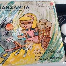 Discos de vinil: SINGLE (VINILO) CON EL CUENTO INFANTIL MANZANITA AÑOS 60. Lote 287196678