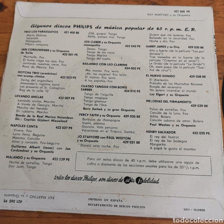 Discos de vinilo: Disco de Vinilo de 45rpm de Ray Martin o y su orquesta 1960s - Foto 5 - 287198663