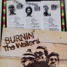 Discos de vinilo: BOB MARLEY & THE WAILERS - BURNIN LP PRIMERA EDICIÓN ESPAÑOLA -ISLAND RECORDS/ARIOLA. PORTADA GATEF. Lote 287266338