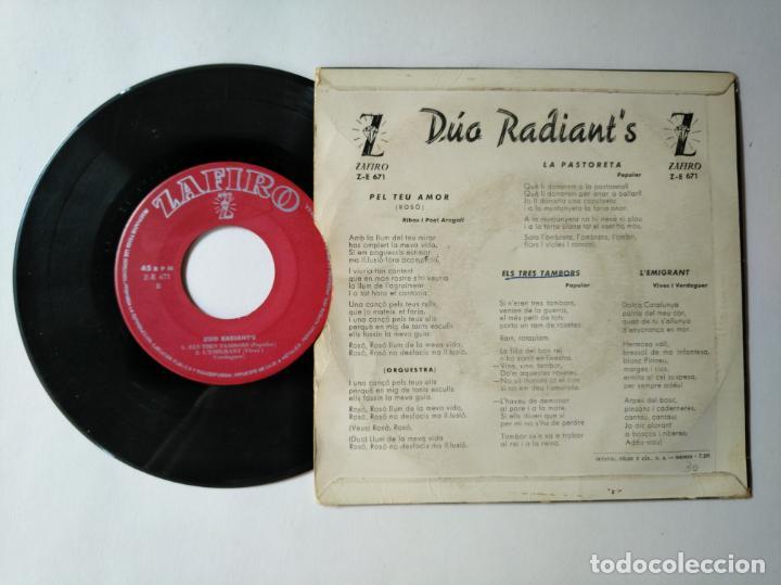 Discos de vinilo: DUO RADIANTS - EP - PEL TEU AMOR + 3 - ZAFIRO Z E 671 - VER FOTOS Y DESCRIPCION - Foto 2 - 287355048