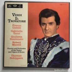 Discos de vinilo: GIUSEPPE VERDI – IL TROVATORE, BOX 3 LPS, UK 1965 HMV. Lote 287562693