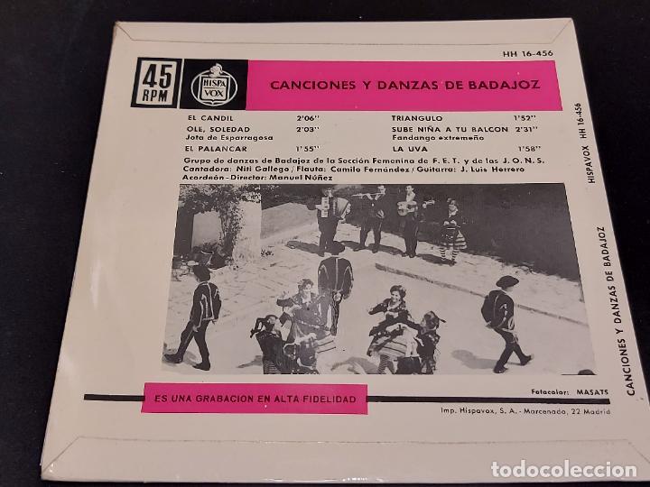 Discos de vinilo: SECCIÓN FEMENINA F.E.T. Y DE LAS J.O.N.S / CANCIONES DE BADAJOZ / EP - HISPAVOX-1963 / MBC. ***/*** - Foto 3 - 287567628