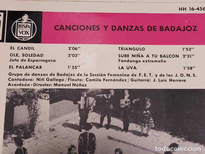 Discos de vinilo: SECCIÓN FEMENINA F.E.T. Y DE LAS J.O.N.S / CANCIONES DE BADAJOZ / EP - HISPAVOX-1963 / MBC. ***/*** - Foto 4 - 287567628