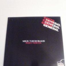 Discos de vinilo: MIKIS THEODORAKIS PABLO NERUDA CANTO GENERAL 2LP ( 1976 CARNABY ESPAÑA ) MUY BUEN ESTADO. Lote 287623708