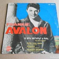 Discos de vinilo: FRANKIE AVALON, EP, UN CHICO SOLTERO (A BOY WITHOUT A GIRL) + 3, AÑO 1960. Lote 287644258
