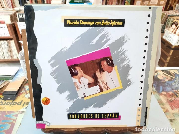 PLÁCIDO DOMINGO CON JULIO IGLESIAS - SOÑADORES DE ESPAÑA - MAXI SINGLE. SELLO CBS 1989 (Música - Discos de Vinilo - Maxi Singles - Solistas Españoles de los 70 a la actualidad)