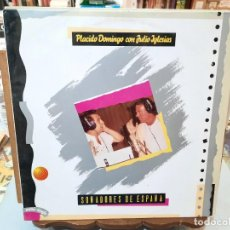 Discos de vinilo: PLÁCIDO DOMINGO CON JULIO IGLESIAS - SOÑADORES DE ESPAÑA - MAXI SINGLE. SELLO CBS 1989. Lote 287662888