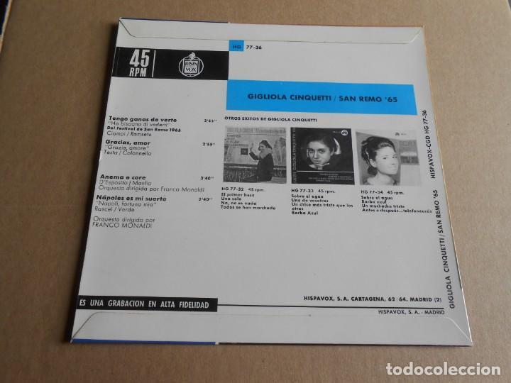 Discos de vinilo: GIGLIOLA CINQUETTI - SAN REMO´ 65 -, EP, TENGO GANAS DE VERTE + 3, AÑO 1964 - Foto 2 - 287735273