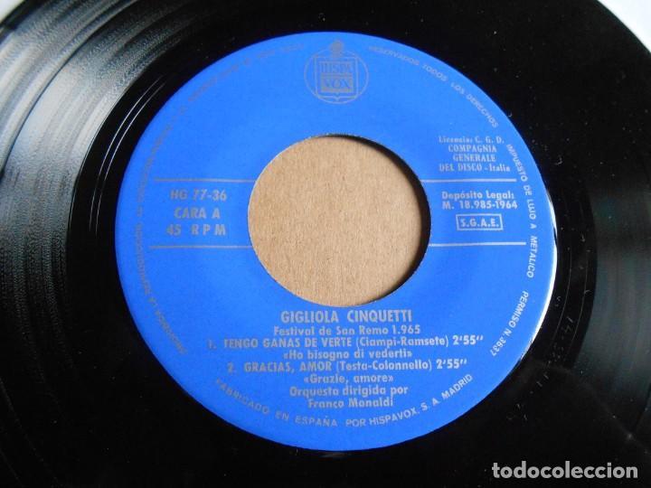Discos de vinilo: GIGLIOLA CINQUETTI - SAN REMO´ 65 -, EP, TENGO GANAS DE VERTE + 3, AÑO 1964 - Foto 3 - 287735273