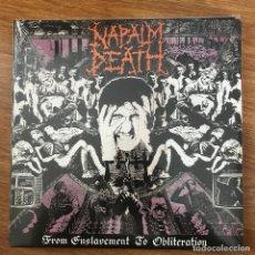 Discos de vinilo: NAPALM DEATH - FROM ENSLAVEMENT TO OBLITERATION (1988) - LP REEDICIÓN EARACHE NUEVO. Lote 287752848