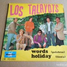 Discos de vinilo: TALAYOTS, LOS, SG, WORDS (PALABRAS) + 1, AÑO 1968. Lote 287769118