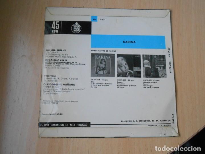 Discos de vinilo: KARINA, EP, ME LO DIJO PÉREZ + 3, AÑO 1965 - Foto 2 - 287775493