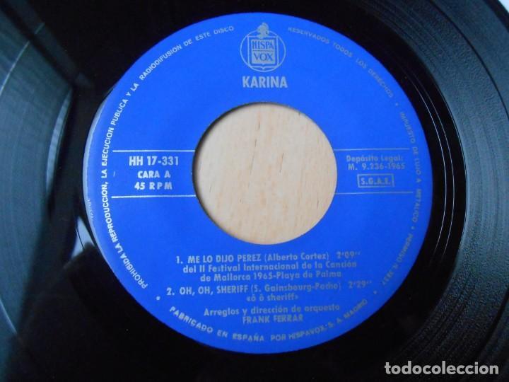 Discos de vinilo: KARINA, EP, ME LO DIJO PÉREZ + 3, AÑO 1965 - Foto 3 - 287775493