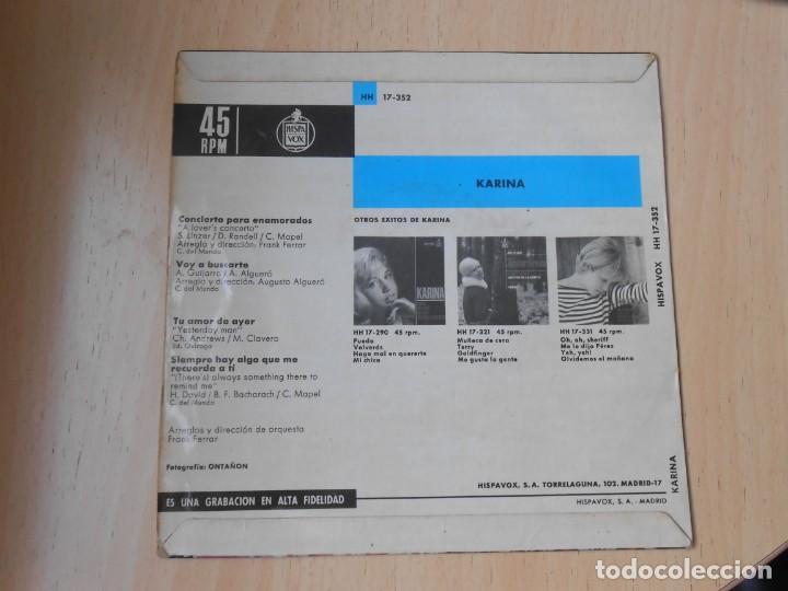 Discos de vinilo: KARINA, EP, CONCIERTO PARA ENAMORADOS + 3, AÑO 1966 - Foto 2 - 287776483