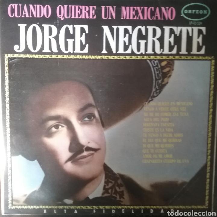 JORGE NEGRETE. LP. SELLO ORFEON. EDITADO EN MÉXICO. (Música - Discos - LP Vinilo - Grupos y Solistas de latinoamérica)