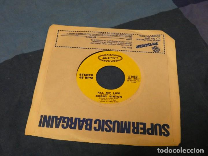 BOXX129 SINGLE 7 PULGADAS USA ACEPTABLE BOBBY VINTON ALL MY LIFE SEALED WITH A KISS (Música - Discos - LP Vinilo - Pop - Rock - Internacional de los 70)