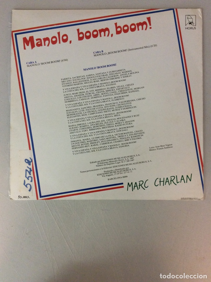 Discos de vinilo: Manolo. Boom, boom! Marc Charlan - Foto 2 - 287825253