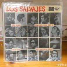 Discos de vinilo: CAJSING19 DISCO 7 PULGADAS BUEN ESTADO GENERAL EP LOS SALVJAJES TODO NEGRO. Lote 287839468