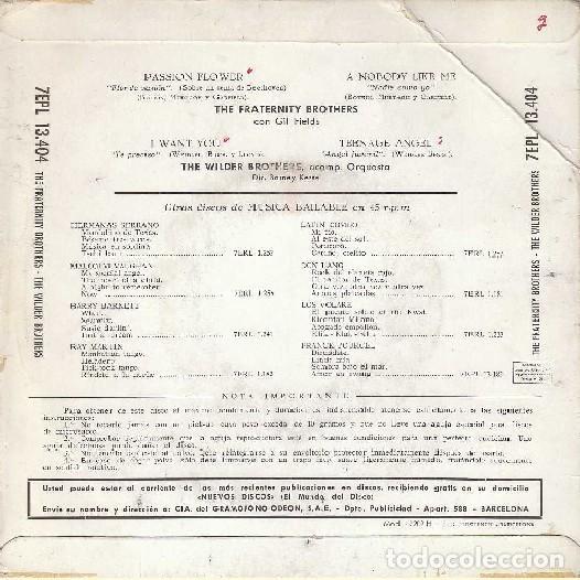 Discos de vinilo: The Fraternity Brothers / The Wilder Brothers - Passion Flower - La Voz De Su Amo 7EPL 13.404 -1960 - Foto 2 - 287853433