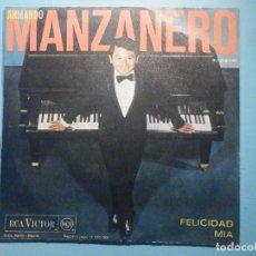 Discos de vinilo: VINILO - SINGLE - ARMANDO MANZANERO - FELICIDAD - MIA. Lote 287883298