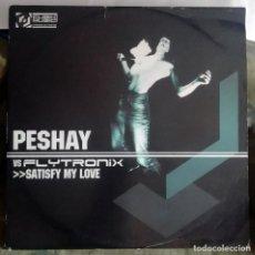 Discos de vinilo: PESHAY VS. FLYTRONIX – SATISFY MY LOVE / MILES FROM HOME UK 2002 DRUM N BASS. Lote 287896183