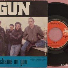 "Discos de vinilo: 7"" GUN - SHAME ON YOU - A&M 873 634-7 - SPAIN PRESS - PROMO (VG++/VG++). Lote 287899433"