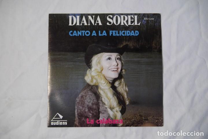 Discos de vinilo: 4 singles vinilo iguales Diana Sorel sin estrenar, canto a la felicidad, La Calabaza, 1973 - Foto 2 - 287947808