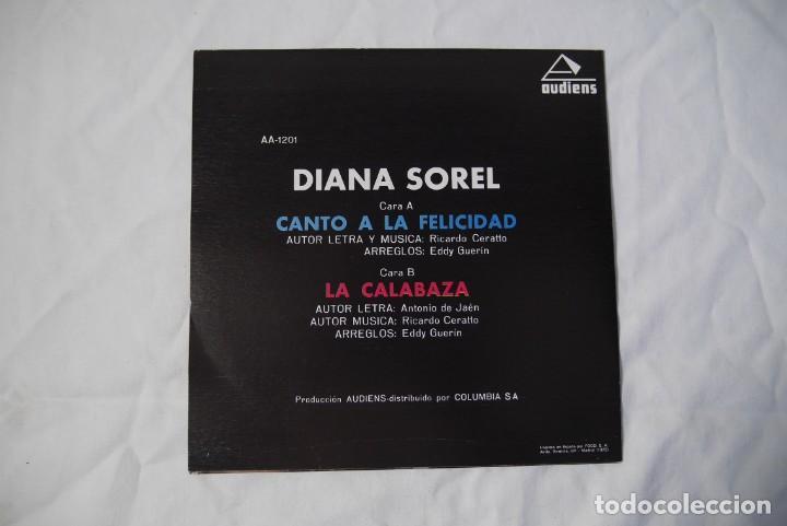 Discos de vinilo: 4 singles vinilo iguales Diana Sorel sin estrenar, canto a la felicidad, La Calabaza, 1973 - Foto 3 - 287947808