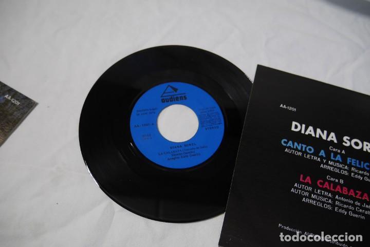 Discos de vinilo: 4 singles vinilo iguales Diana Sorel sin estrenar, canto a la felicidad, La Calabaza, 1973 - Foto 4 - 287947808