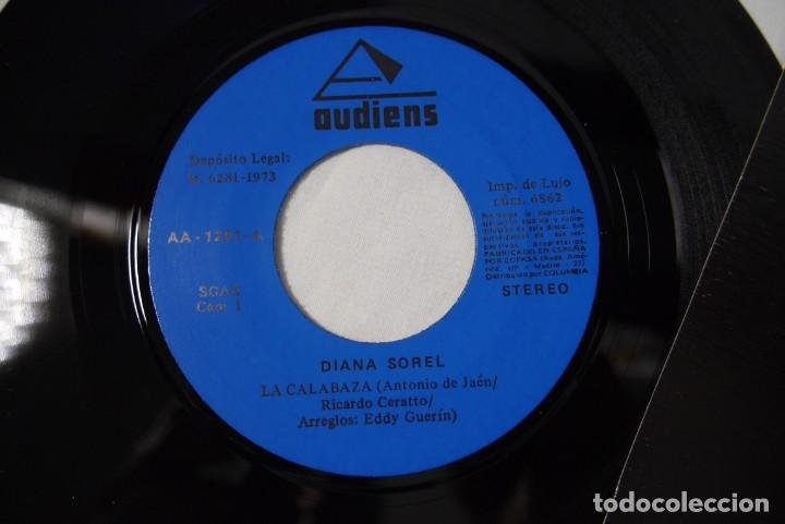 Discos de vinilo: 4 singles vinilo iguales Diana Sorel sin estrenar, canto a la felicidad, La Calabaza, 1973 - Foto 5 - 287947808