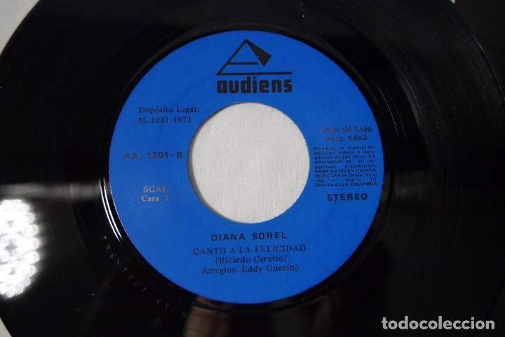 Discos de vinilo: 4 singles vinilo iguales Diana Sorel sin estrenar, canto a la felicidad, La Calabaza, 1973 - Foto 6 - 287947808