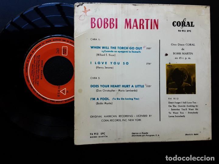 Discos de vinilo: EP BOBBI MARTIN, WHEN WILL THE TORCH GO OUT, I LOVE YOU SO, IM A FOOL + 1 - Foto 2 - 288006853