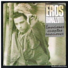 Discos de vinilo: EROS RAMAZZOTTI - EMOCIONES CUANTAS EMOCIONES / LACRIME DI GIOVENTU - SINGLE 1986. Lote 288045378