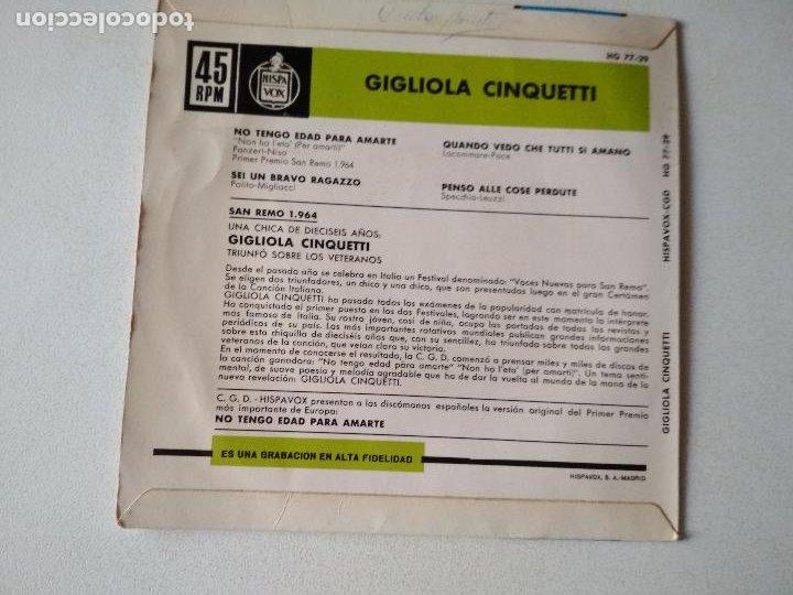 Discos de vinilo: GIGLIOLA CINQUETTI-NO TENGO EDAD PARA AMARTE + 3 FESTIVAL SAN REMO 1964 EP - Foto 2 - 288099713