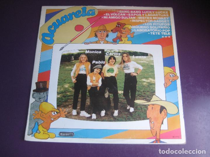 ACUARELA - LP DIAMANTE 1985 - MUSICA INFANTIL 80'S - INSPECTOR GADGET - LUCKY LUKE - PITUFOS - ETC (Música - Discos - LPs Vinilo - Música Infantil)