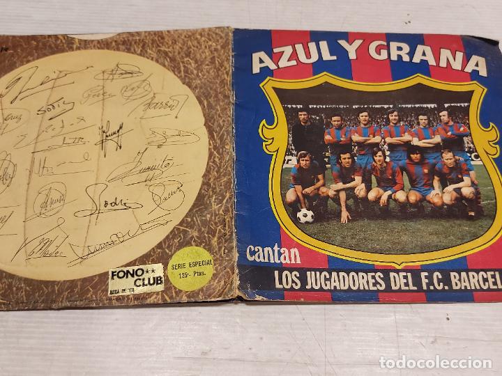 Discos de vinilo: AZUL Y GRANA / CANTAN LOS JUGADORES DEL F.C.BARCELONA / SINGLE-GATEFOLD+INSERTO / MBC. ***/*** - Foto 4 - 288143873
