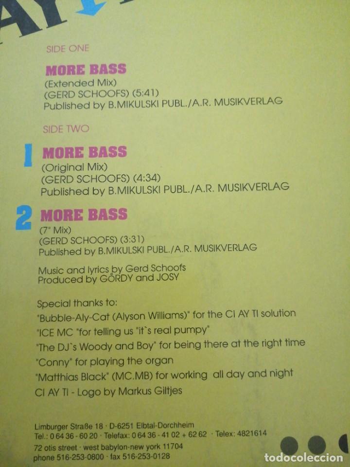 Discos de vinilo: Disco música LP vinilo maxi single MORE BASS CI AY TI - Foto 2 - 288148358