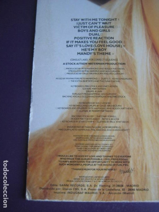 Discos de vinilo: Mandy - LP SANNI 1988 SIN USO - ELECTRONICA DISCO POP 80S - PORTADA UN POCO ROZADA - Foto 3 - 288148693