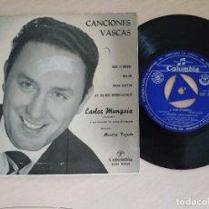 Discos de vinilo: CARLOS MUNGUIA - CANCIONES VASCAS - NERE ETORRERA / AMAIUR / EZKON GAIETAN + 1 (EP COLUMBIA 1962). Lote 288203038